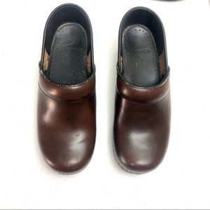 Dansko brown leather slip on Clogs Size 6